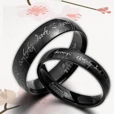 anysize anywords black lord of ring elvish engrave groombride wedding engagement titanium rings set flat court - Nerd Wedding Rings