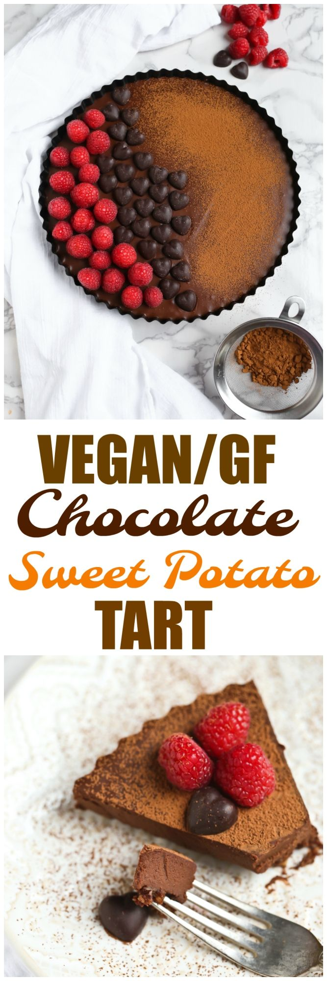Vegan Chocolate Sweet Potato Tart that is dairy-free, gluten-free, grain-free and absolutely DIVINE! Easy, simple and fast to make! via @thevegan8