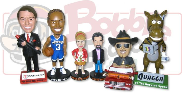 Custom bobbleheads make a great advertising specialty, premium or incentive item for the corporate world. Company mascots, sales people, and company messages will be springing into action for years to come!    If you are a Sports Team planning your next Stadium Giveaway, a Movie Studio looking to create some buzz, or just a someone who thinks they deserve their own custom bobble head, then contact the Bobble Factory at 1-800-437-4517