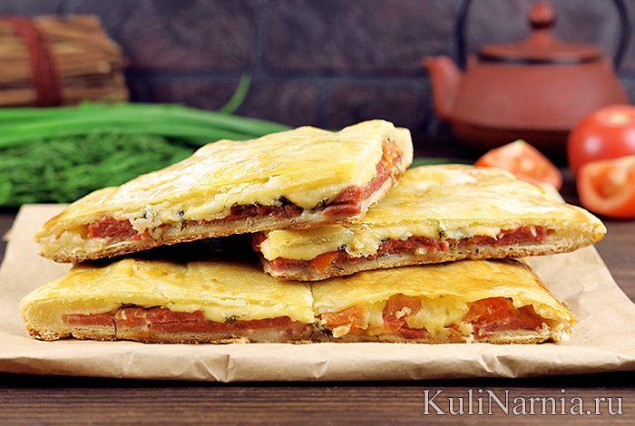 Пирог с колбасой и сыром с фото