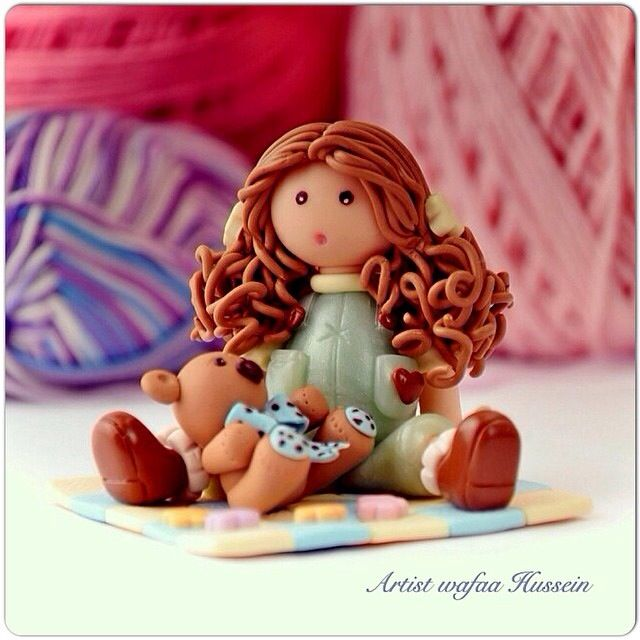 Cute girl doll for desk decor of polymer clay