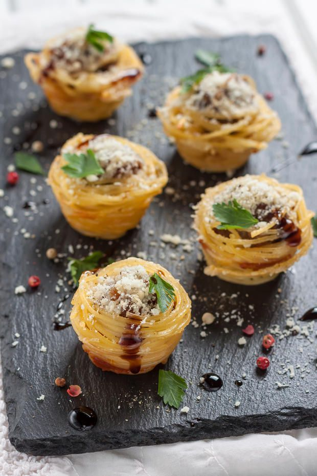 Party Buffet Ideen Ausgefallenes Fingerfood: Spaghetti-muffins | Fingerfood