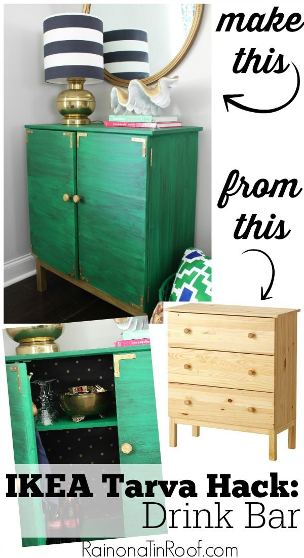 IKEA Tarva Hack: Turn It Into a Drink Bar. Great idea and it looks simple enough to do! via RainonaTinRoof.com