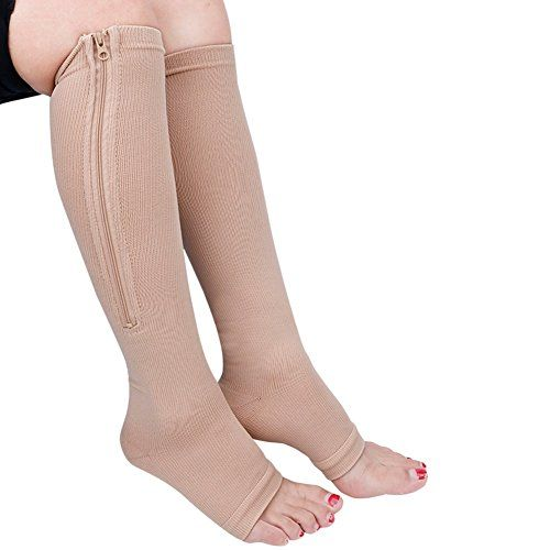 Steampunk - TiaoBug Black/Nude Compression Knee High Open Toe Socks Leg Support Stockings with Zipper 1Pair Nude Large