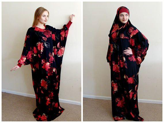 Zwarte Maxi jurk Plus Size gebed kleden Farasha Caftan