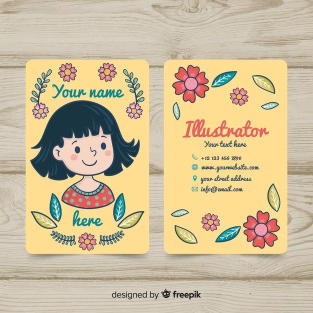 Hand Drawn Kawaii Business Card Template Art Business Cards Graphic Design Business Card Illustration Business Cards