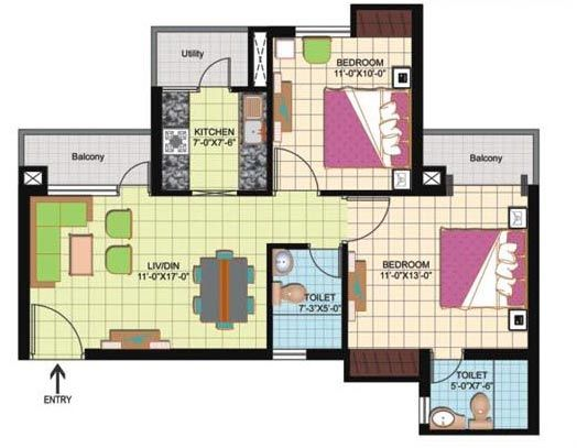 Floor Plan- 950 sqft.
