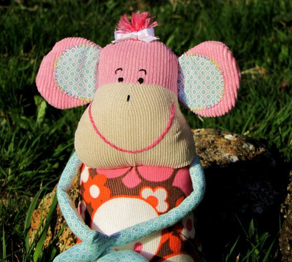 Milly monkey! Vintage and recycled fabric monkey!