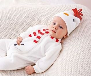 Snowman Fleece Sleepsuit And Hat (0-18mths) from Next