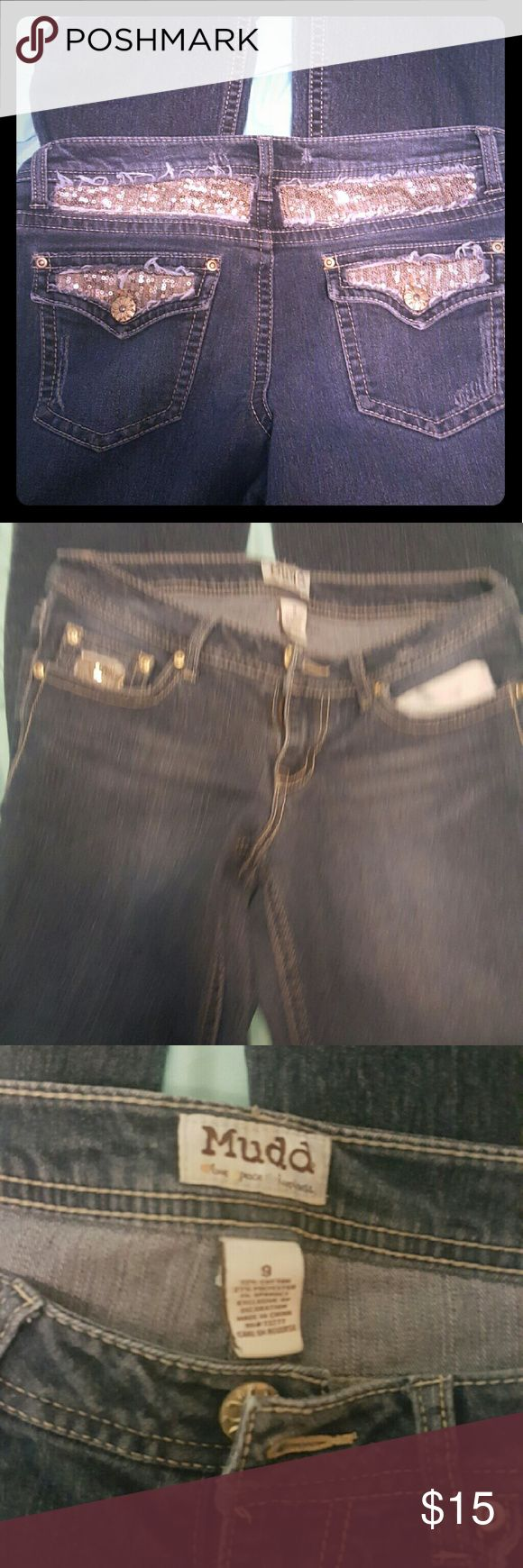 Mudd sequin jeans Size 9 gold sequin Mudd jeans mudd Jeans Boot Cut