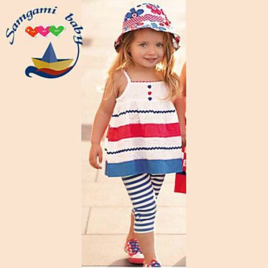 Girl's+Summer+Inelastic+Thin+Sleeveless+Clothing+Sets+(Cotton+Blends)+–+USD+$+9.99