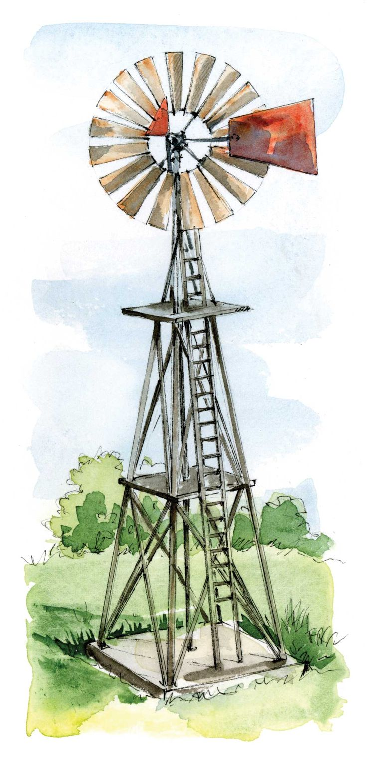 Enlist the power of the wind to pump your well water — you'll save on your electric bills, and add a nostalgic feature to your homestead. Illustration by Elayne Sears. From MOTHER EARTH NEWS magazine.