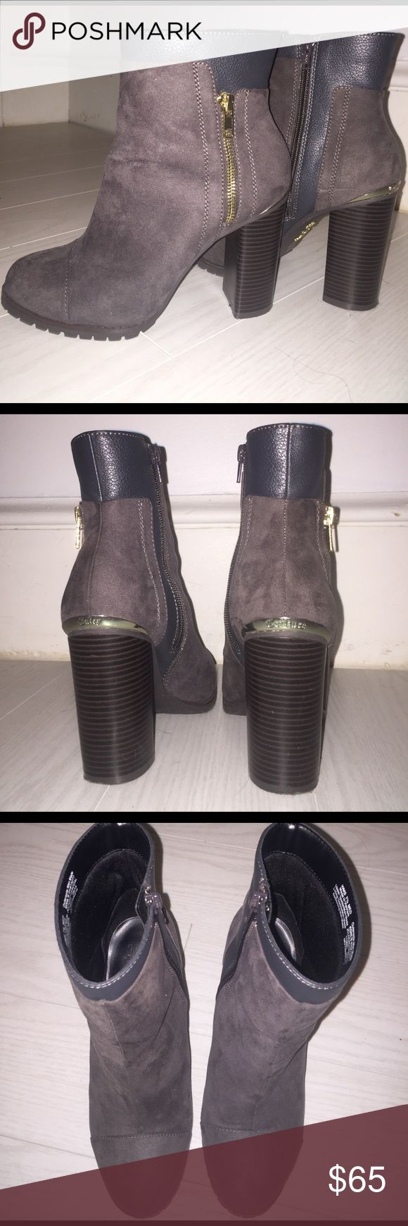 Juicy Couture heel booties Excellent condition.  Metal detail at back and false zipper. Very cute and barely worn. Juicy Couture Shoes Ankle Boots & Booties