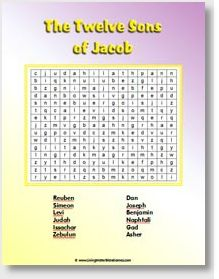 Bible Word Search -- The sons of Jacob