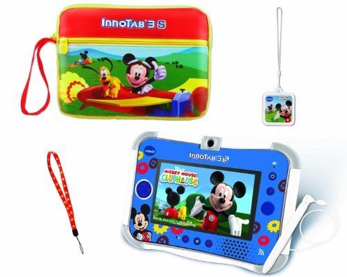 VTech InnoTab 3S Bundle Mickey Mouse Club House Tablet (3417761588314) Features a wealth of quality and age-appropriate content across a wide variety of subjects and curriculum 4 GB on-board memory 180 degree 2.0 MP rotating camera/video recorder with 55 photo effects Microphone and NEW D-pad offer even more ways to play Kid-safe browser