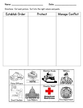 "This activity is aligned with the 2nd Grade CSCOPE/TRS Social Studies Lesson 8.1 - ""What is the Purpose of Government"""