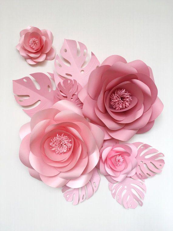 Set de bebé habitación flores de papel - flores de papel para cuarto de niños - colgante flores - flor de papel