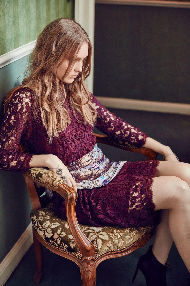 Pandora lace dress in Bordeaux Dea Kudibal AW16 // La Femme Allure