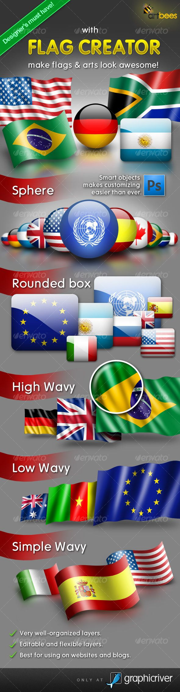 Flag Creator — Photoshop PSD #flag #sphere • Available here → https://graphicriver.net/item/flag-creator/108604?ref=pxcr