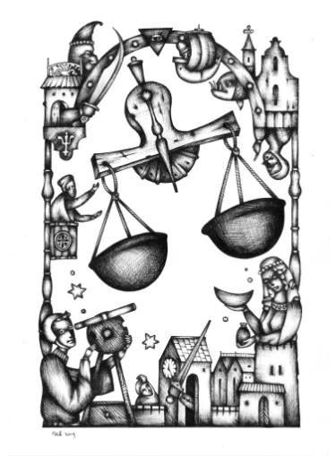 Libra's Equilibrium by #eugeneivanov, 29 X 41 cm, $299.  #@eugene_1_ivanov #modern #original #ink #painting #hipster #sale #art_for_sale #original_art_for_sale #modern_art_for_sale #ink_drawing_for_sale #art_for_sale_artworks #art_for_sale_ink #art_for_sale_artist #art_for_sale_eugene_ivanov