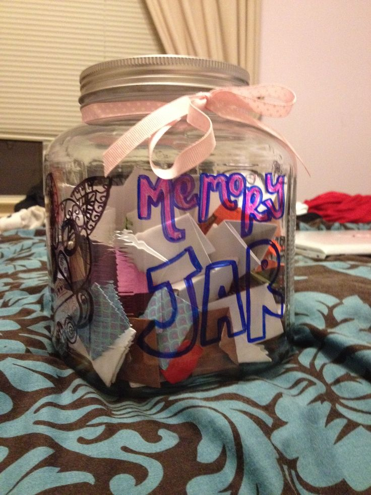 Did this for my best friend's 18th birthday! Fill a large jar with notes of your favorite memories, inside jokes, encouraging words, and pictures over the years. I added candy to fill it and make it more fun! I used origami paper (small) to write the notes and folded them like letters. I printed pictures on white paper and folded those in the same way