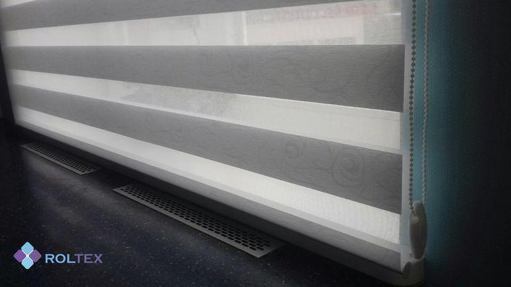 Рулонная штора открытого типа. Ткань день-ночь BH-401, ссылка на ткань - http://roltex.co.ua/product/shtory-den-noch-bh-401/