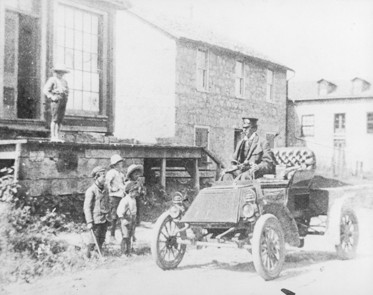 First automobile in Ancaster Township circa 1902. It was a Pope Automobile and here is driven by the owner, Dr. George Devey Farmer (1866-1928).