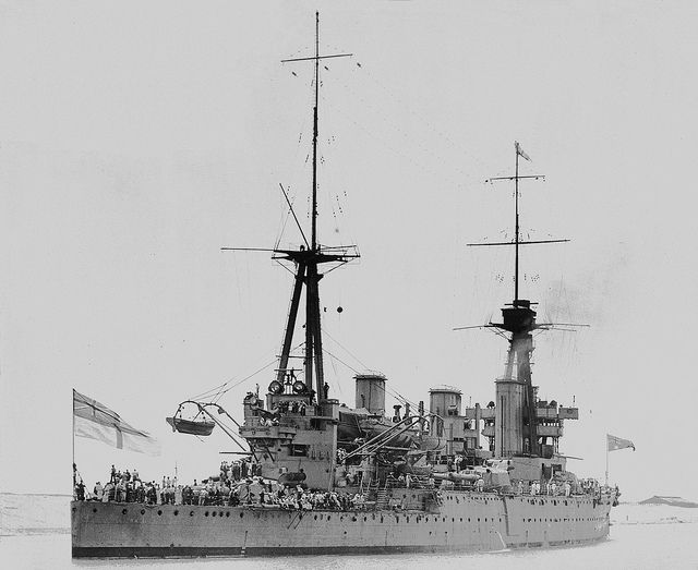 Indefatigable class 12 in class battlecruiser HMAS Australia enroute for home in 1919 whilst passing through the Suez Canal.  The only capital ship ever commissioned into the Australian navy, she was scuttled off Sydney in 1924 to ensure Empire compliance with Washington Treaty tonnage limits.