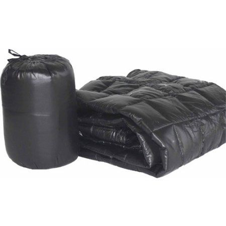 50 inch x 70 inch Puff Ultra Light Indoor/Outdoor Nylon Throw with Compact Travel Bag, Black