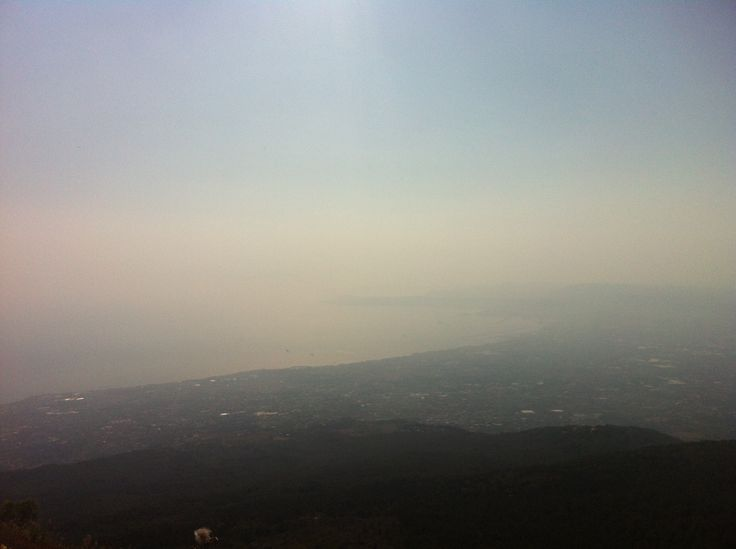 Italy - Naples from the top of Mt Vesuvius on a misty / smoggy morning