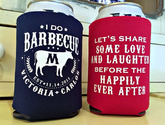 I Do BBQ Wedding Koozies from Sip Hip Hooray!!  Send your guests home with a favor they will use for years to come! Our koozies are made to order