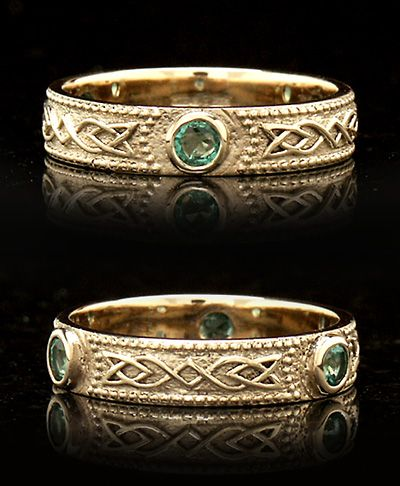 """Celtic Wedding Rings: Shield Band with Three Emeralds """