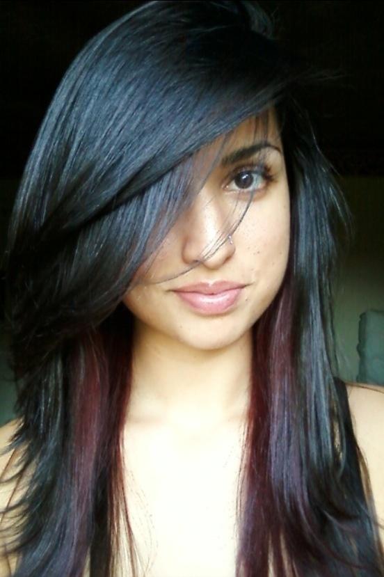Red Peekaboo Highlights Hair Pinterest Bangs Red