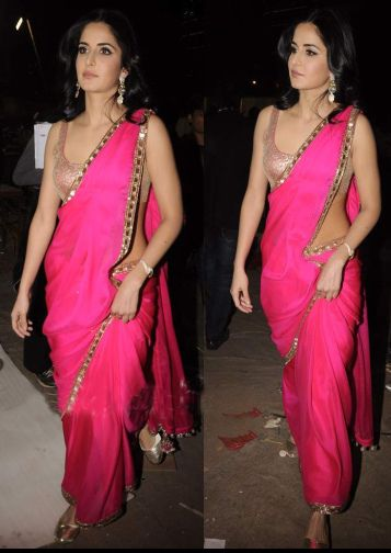 Lovely pink sari with nude sequenced blouse <3