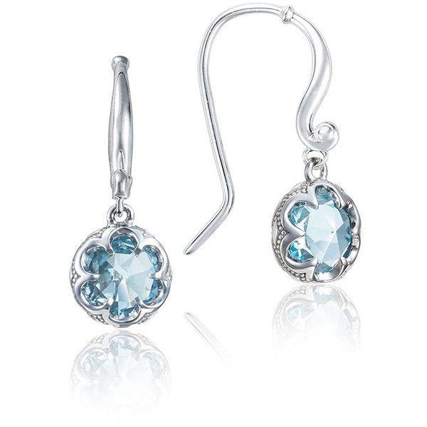 Tacori Sonoma Skies Petite Crescent Sky Blue Topaz Drop Earrings (1 265 PLN) ❤ liked on Polyvore featuring jewelry, earrings, tacori earrings, blue topaz jewelry, petite jewelry, tacori jewelry and drop earrings