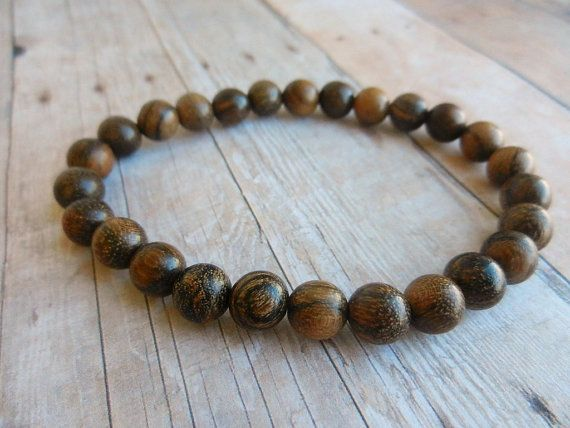 Mens Wooden bracelet Rosewood wooden Beads by EnergyCircle on Etsy