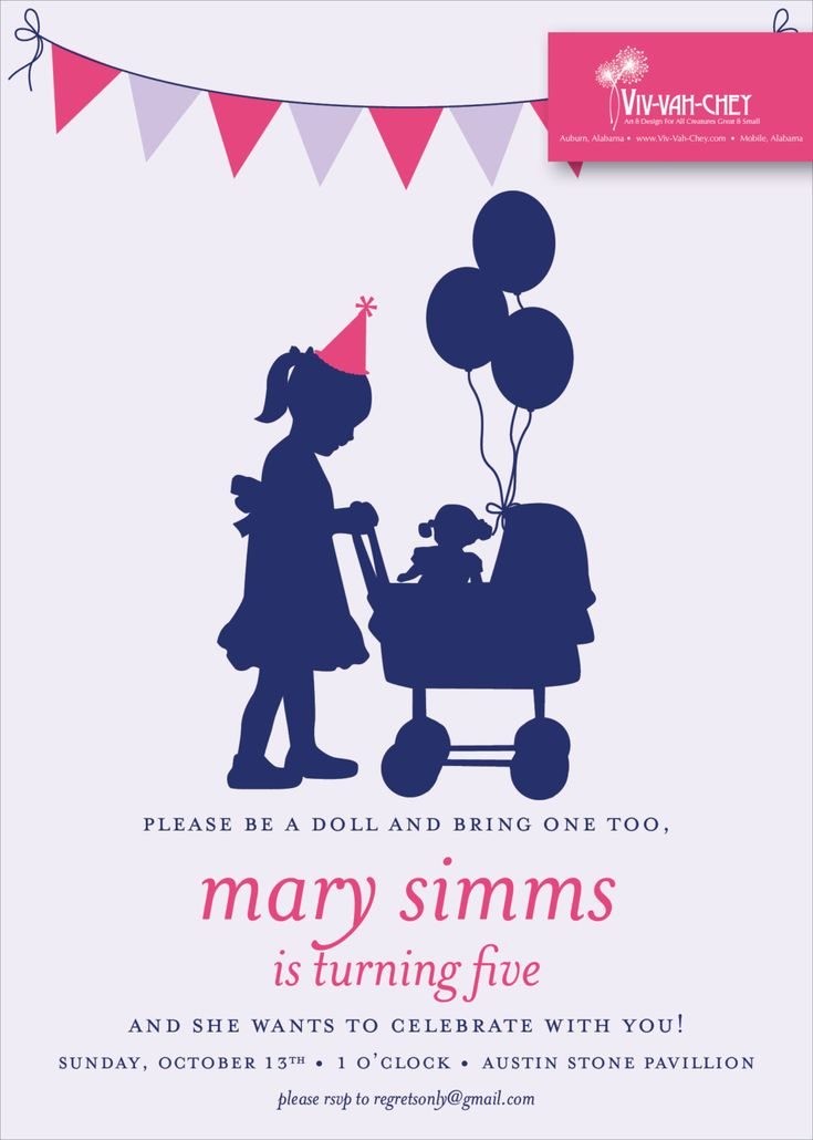 Classic Baby Doll | Birthday Party Invitation by VivVahChey on Etsy