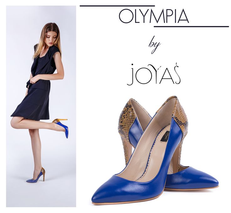 The Olympia shoes combine the royal blue color  with snakeskin texture, making these shoes a perfect accessory for your outfit