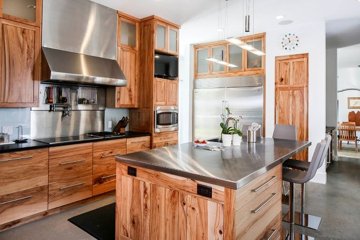 Kitchen with Pecan Wood Cabinets and Stainless Counters in ...