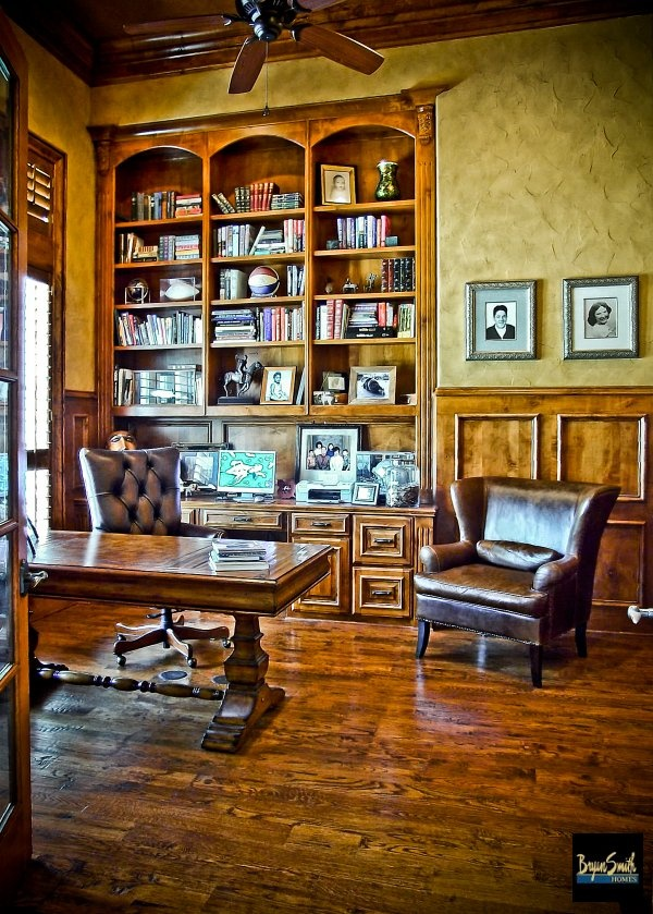 This is the study in a Country French style home we designed and built in Farmers Branch, TX