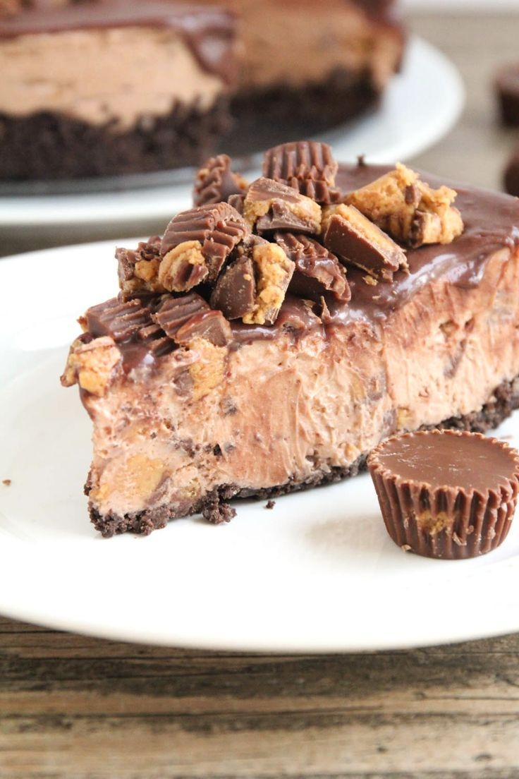 Reese's No Bake Chocolate Peanut Butter Cheesecake - the perfect combination of creamy, rich cheesecake and the chocolate peanut butter of Reese's!