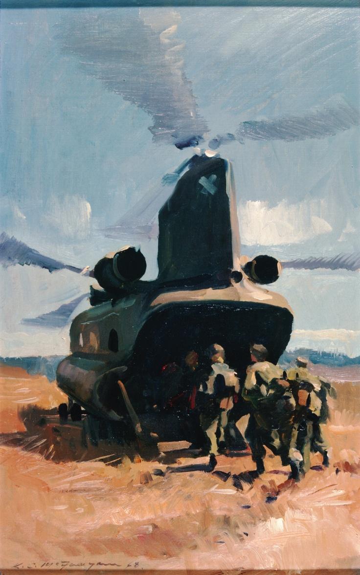 McFadyen, Ken 'Air lift' 1968, oil on canvas on hardboard, 48.2 x 30.4 cm.  #kenmcfayden #vietnamoncanvas #sandrafingerlee #vietnamwar #warart #oiloncanvas #oilpainting