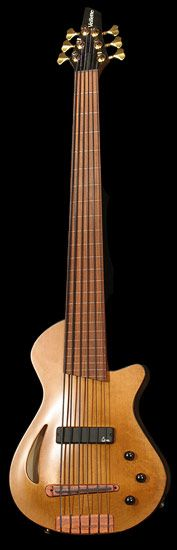 Veillette electric Archtop Hollow Body Bass guitar - Honey walnut 6-string. Both magnetic pickup for standard electric sounds and a piezo for acoustic tones. Can sound like an upright.