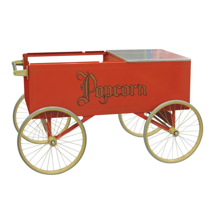 """Gold Medal 2129 Gay 90 Red Popcorn Wagon w/ (4) 20"""" Wheels, Stainless, White"""