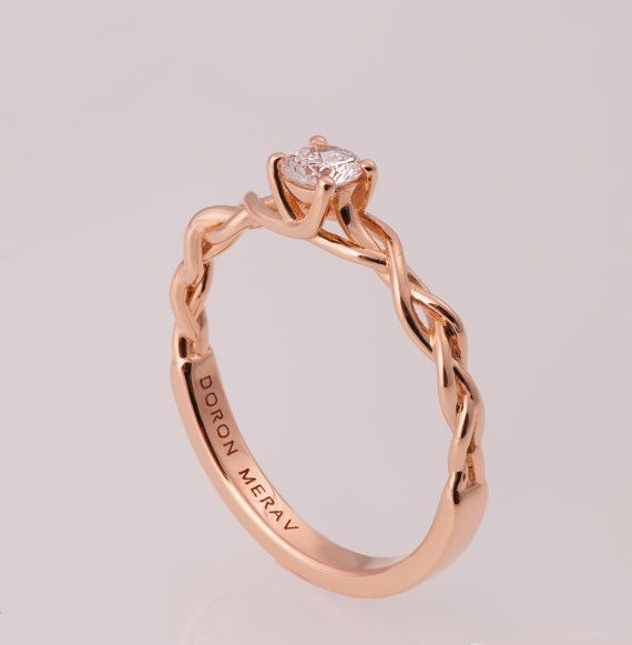 Braided Engagement Ring 2 14K Gold and Diamond by doronmerav