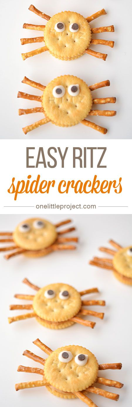 These Ritz cracker spiders are so easy! They don't take any more time to make than a sandwich, but they are SO CUTE!: