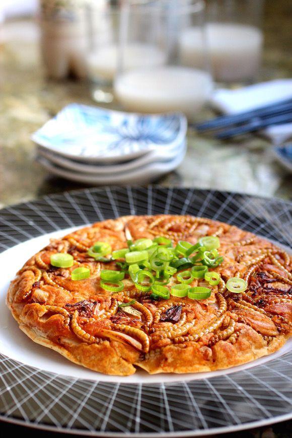Edible Insects: Kimchi and Beetle Larvae Jeon (Pancake)