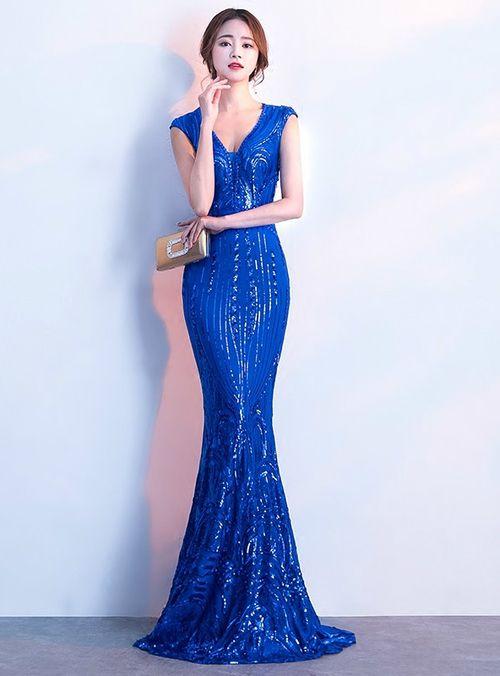 b61fa590dc1 Silhouette mermaid Hemline floor length Neckline v-neck Fabric sequins  Sleeve Style sleeveless Color blue Back Style zipper up Embellishment  sequins