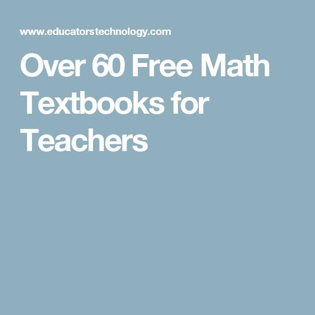 Over 60 Free Math Textbooks for Teachers