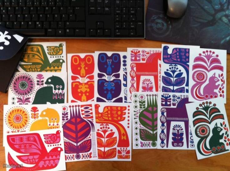 Marimekko Sanna Annukka Kanteleen kutsu postikortteja